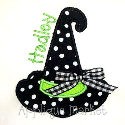 Machine Embroidery Design Applique Witch Hat by tmmdesigns on Etsy, $4.00