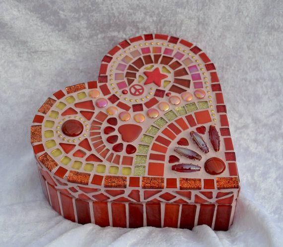 Beautiful red glass mosaic heart shaped box
