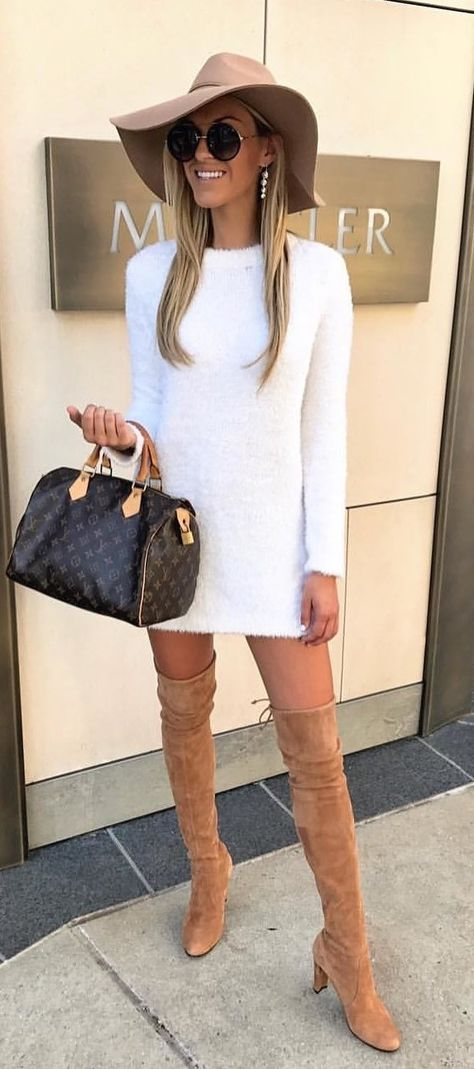 #fall #outfits women's white knitted sweater dress