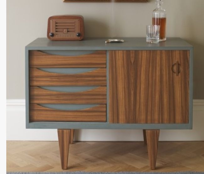 Sliding Door Credenza: Refinished Doors, Drawers And Legs, Painted Exterior    Painted Mid Century Modern Style