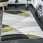 Tappeto salotto Moderno Disegno Geometrico Erica in grigio Bianco Nero e verde - ÖKO-TEX Certificato - verde, 120x170 cm