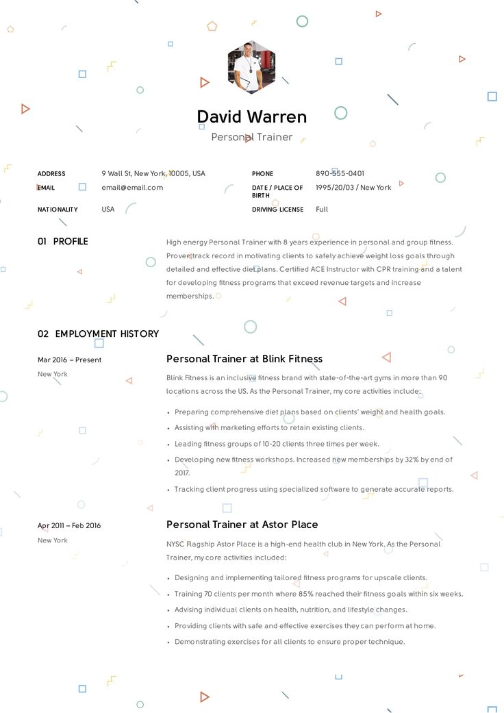 Personal Trainer Resume Resume guide, Resume examples