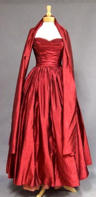 Red satin gown, Kay Selig, 1950's.