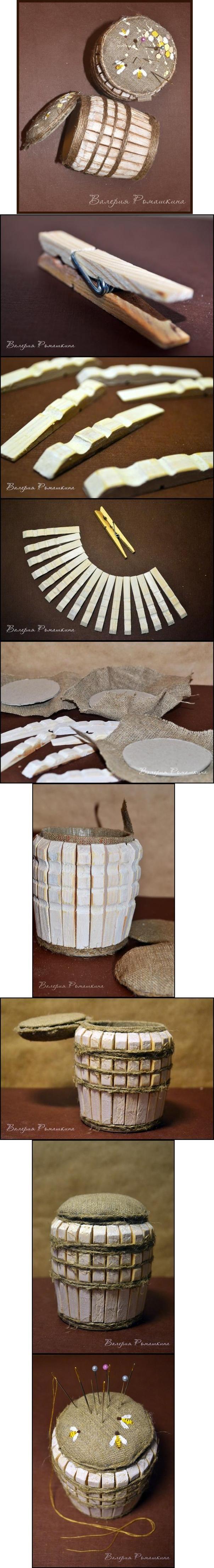 DIY Clothespin Barrel Pincushion DIY Clothespin Barrel Pincushion