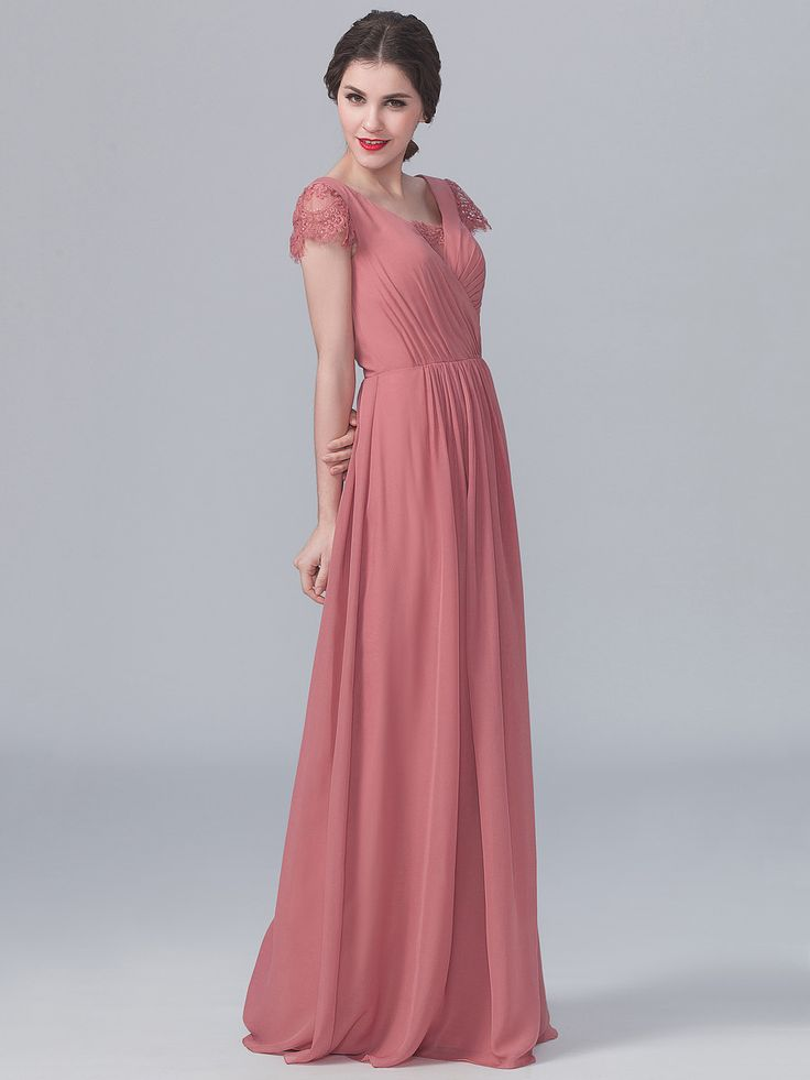 Lace and Chiffon Dress; Color: Dusty Rose; Sizes Available: 2-26W, Custom Size; Fabric: Lace, Chiffon