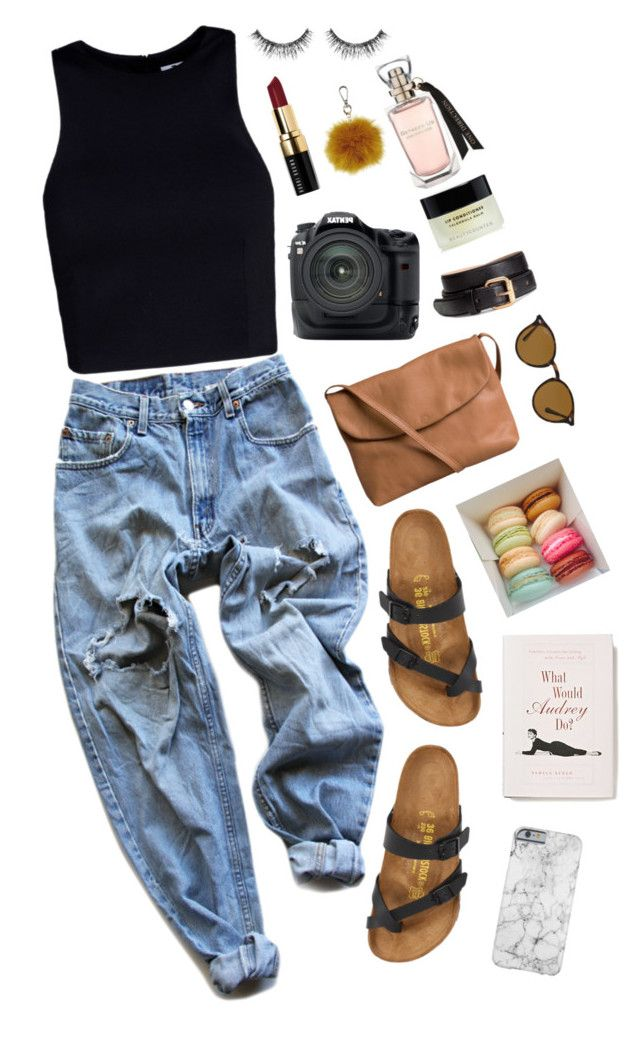 """""""Untitled #669"""" by beg1214 ❤ liked on Polyvore featuring Levi's, Birkenstock, Pieces, Anthropologie, Ray-Ban, T By Alexander Wang, Pentax, H&M, Bobbi Brown Cosmetics and Sephora Collection"""