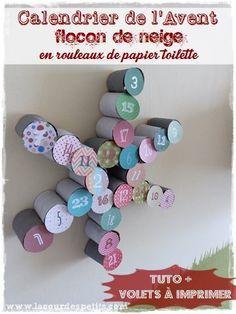 Calendrier de l'Avent en forme de flocon de neige aves des rouleaux de papier toilette à faire pour #Noel