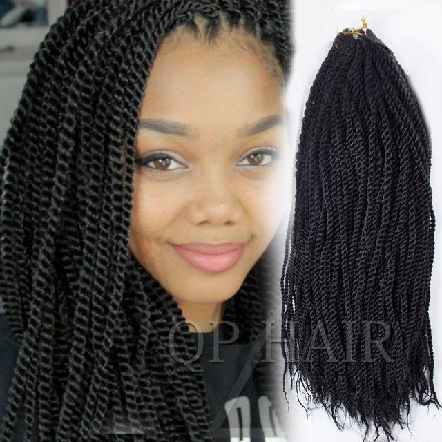 Senegalese Twist 18 inch Zwart Vlechten Haar Senegalese Braid Gevouwen Kanekalon Kinky Twist Haar Gehaakte Braid Hair Extensions