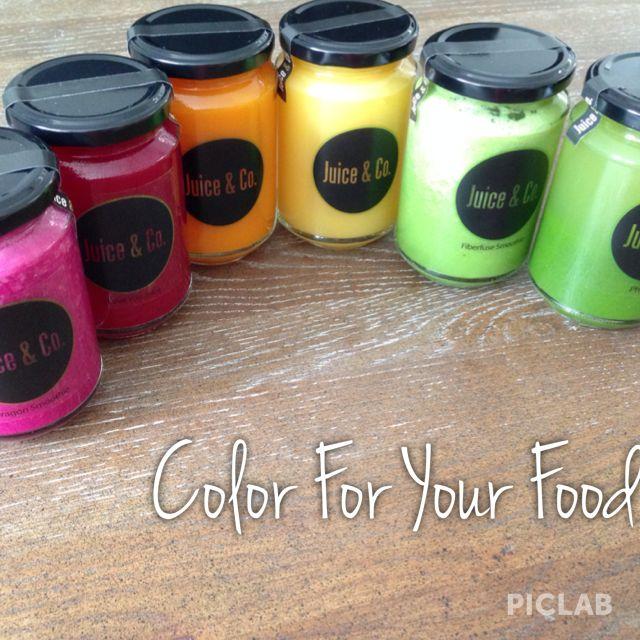 Pink Podium (pitaya) I Love You Juice (beetroot) Curcuma Juice (turmeric) Starjuice (carambola) Fiberfuse (green smoothie) Phytoblast (green juice)
