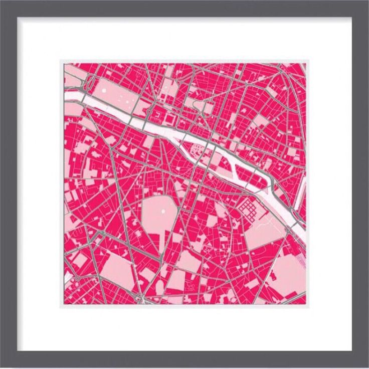 Map of Paris in strawberry mood. Premium quality print. Canvas, frames. Size 30x30, 60x60, 90x90 cm. Swiss brand