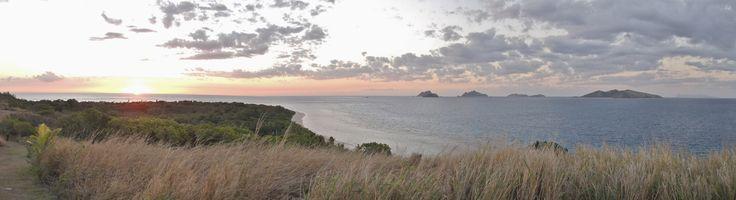 Sunset on Mana Island, Fiji. Taken from Lookout Point towards Matamanoa Island - by Jon Reid