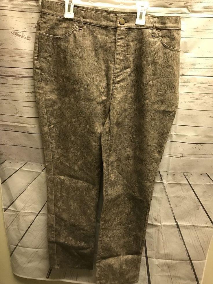 layfayette 148 New York Size 12 Womans Faux Snake Skin Gold Pants #Lafayette148NewYork #CasualPants