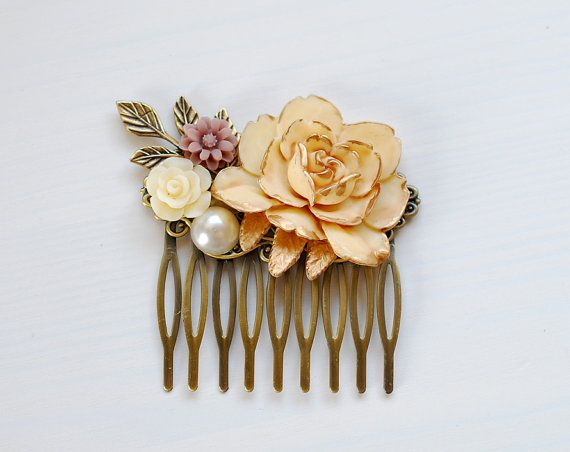 Wedding Hair Comb, Bridal Hair Comb, Ivory Rose Hair Comb. Rustic Vintage Shabby Chic Hair Accessory, Flowers and Leaf Collage Hair Comb, on Etsy, $25.00