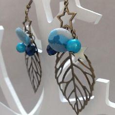 Boucles d'oreilles feuilles couleur bronze et bleu