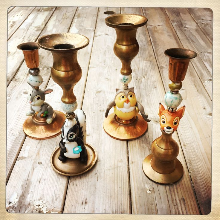 Candle holders #disney #bambi #thumper #owl #skunk #recycle #recycleoldtoys #diy