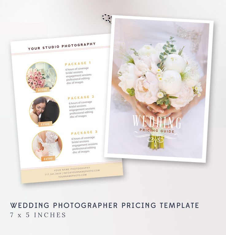 Wedding Pricing Template Photography Guide Price List