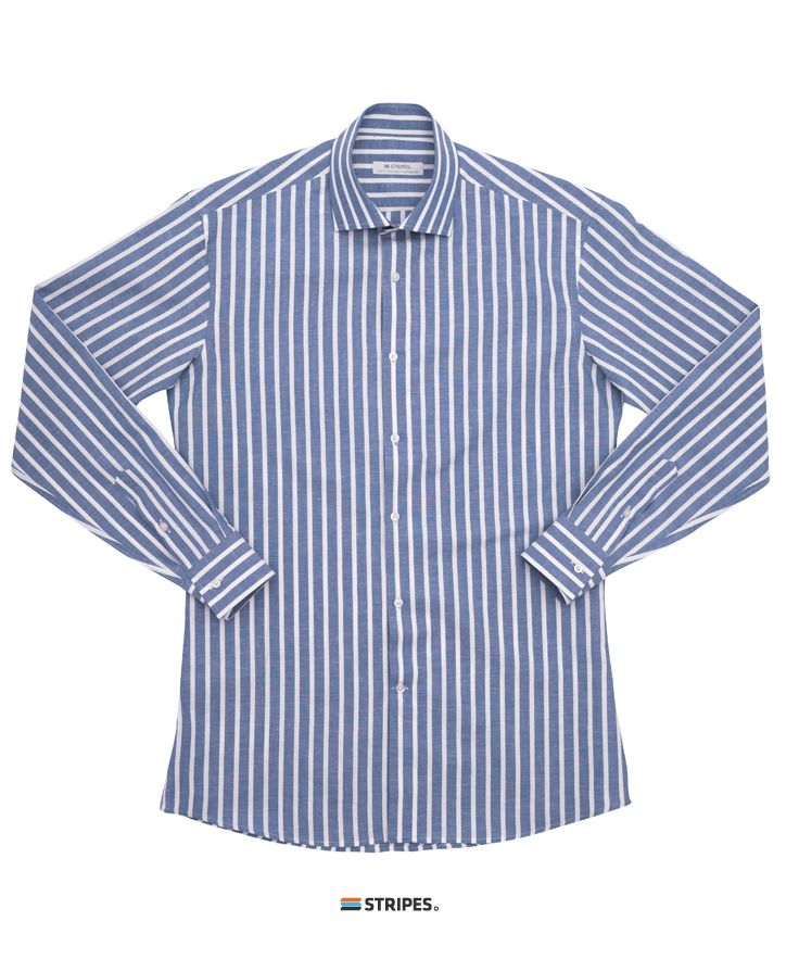 SHIRT. LINEN NAVY CANDY STRIPE