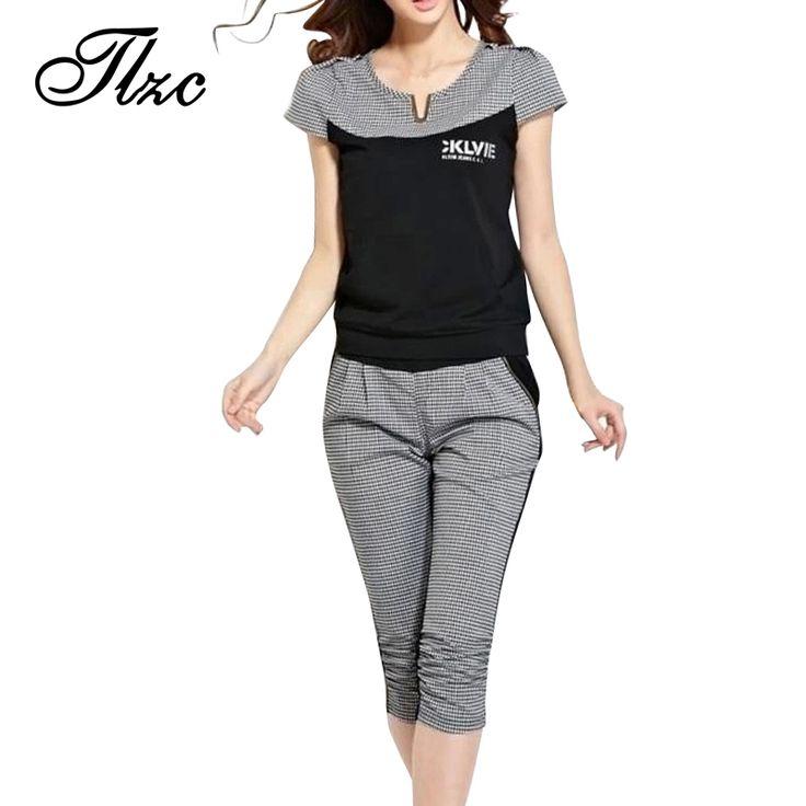 Pola Houndstooth Wanita Fashion Musim Panas Pakaian Set Ditambah Ukuran L-4XL Korea Gaya Lady Kasual Cotton Setelan 2 Pieces