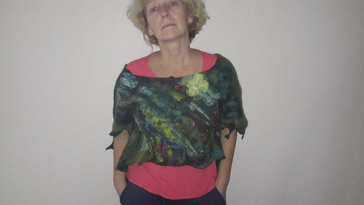 Felted kunst draagbare kunst korte vest wollen vest door Silkydream