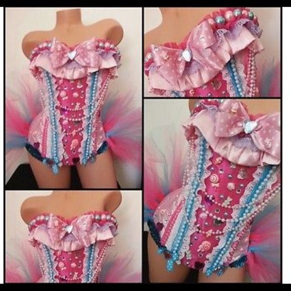 Candy rave costume outfit corset Candy rave corset outfit and tutu Other