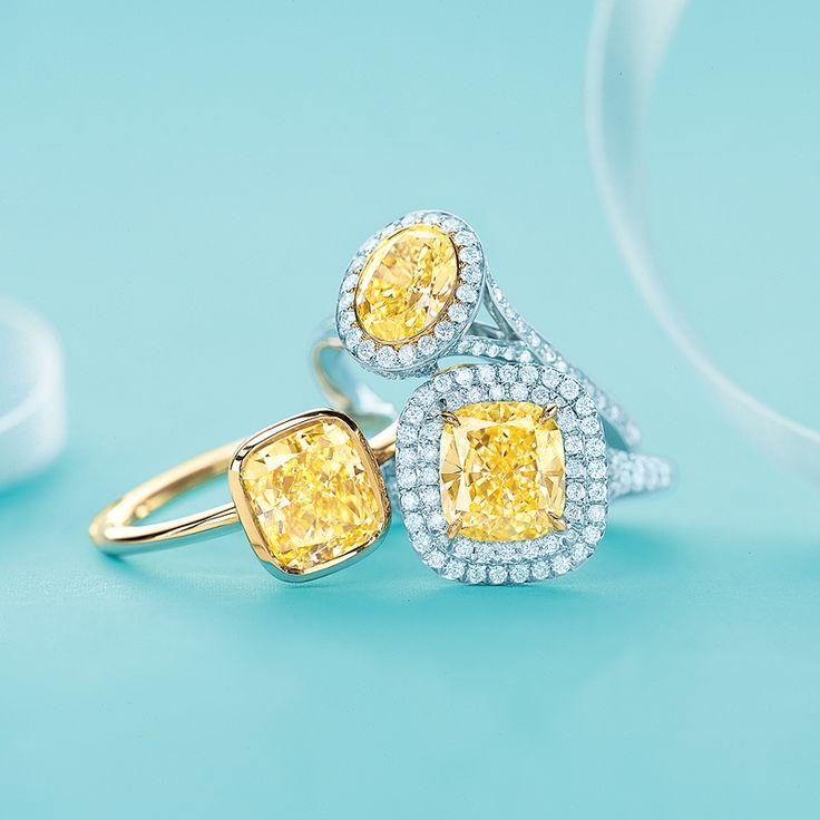 Tiffany Amp Co Yellow Diamond Rings From Left Tiffany