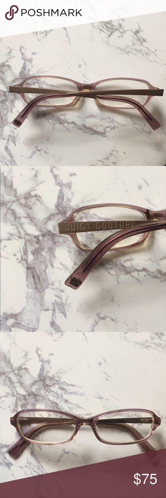 Juicy Couture Reading Glasses Juicy Couture Reading Glasses with Pink/Gold Iridescent Color Frames. Lenses can be interchanged to accommodate different prescription strengths. See photos for beautiful gold detail and embellishments on sides. Juicy Couture Accessories Glasses