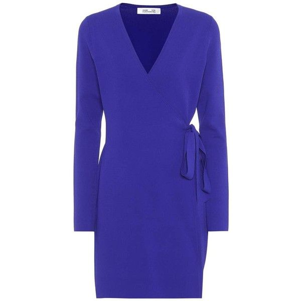 Diane von Furstenberg Knitted Wrap Dress (610 CAD) ❤ liked on Polyvore featuring dresses, blue, short, blue long dress, royal blue long dress, blue color dress, long wrap dress and jersey knit wrap dress