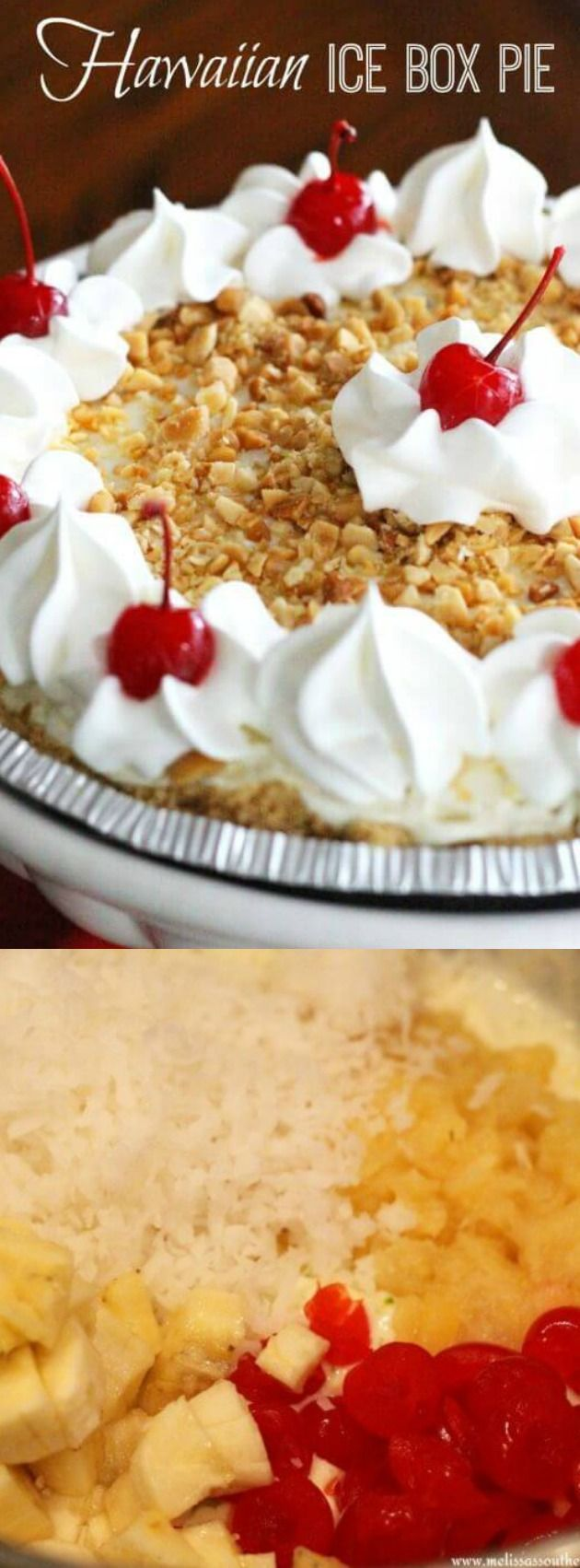 This Hawaiian Ice Box Pie recipe from Melissa's Southern Style Kitchen is the perfect no-bake ice box pie that is packed with flavors that will make you think you're on vacation to a tropical island paradise!