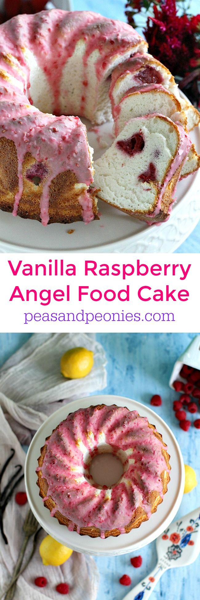 Beautiful vanilla bean raspberry angel food cake is tender and soft, perfectly finished with a pink raspberry lemon glaze. Peas and Peonies
