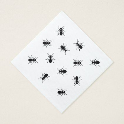 Big Black Ants Backyard Cookout BBQ Picnic Funny Napkin - family gifts love personalize gift ideas diy