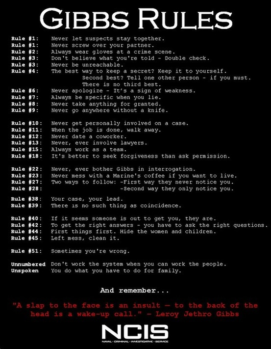 OMG I have wanted this list of Gibbs Rules! I love NCIS and especially Special Agent Leroy Jethro Gibbs! - Click image to find more humor Pinterest pins