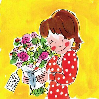 Prent mama met bloemen