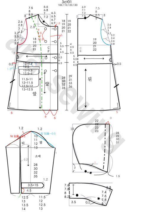 [转载]《北朵》80CM—130CM呢大衣、风衣、外套裁剪图~
