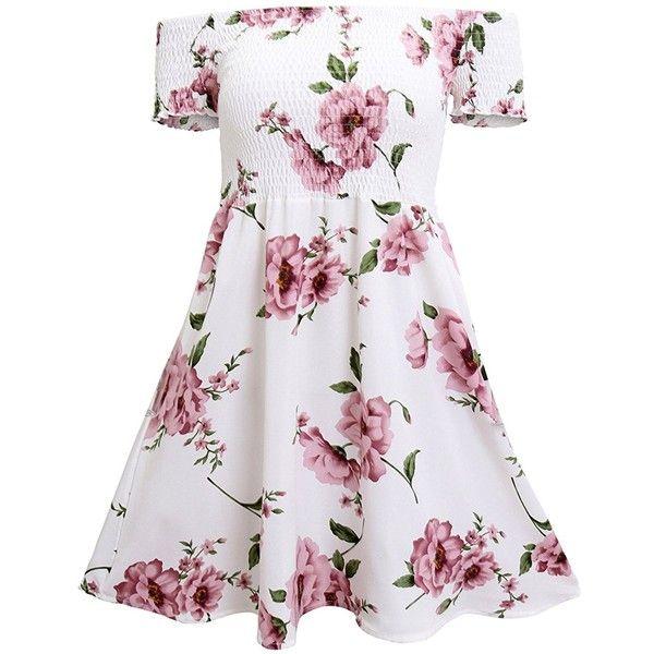 Hibluco Women's Casual Short Sleeve Off Shoulder Floral Print A-Line... ❤ liked on Polyvore featuring dresses, white floral dress, a line dress, off shoulder floral dress, short-sleeve dresses and off shoulder dress