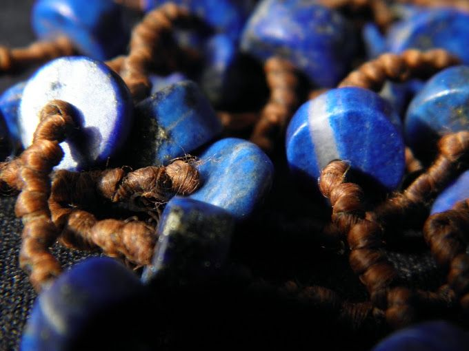 lapis beads knotted waxed cotton