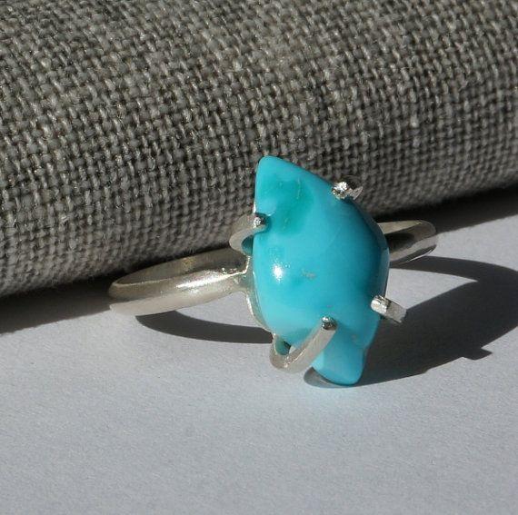 Echte slapende schoonheid Turquoise Zilveren Ring, blauwe Turquoise Ring, December Birthstone, kristal genezing