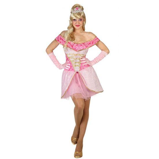 Roze prinsessen jurk voor dames. Lichtroze prinsessen jurkje voor dames.