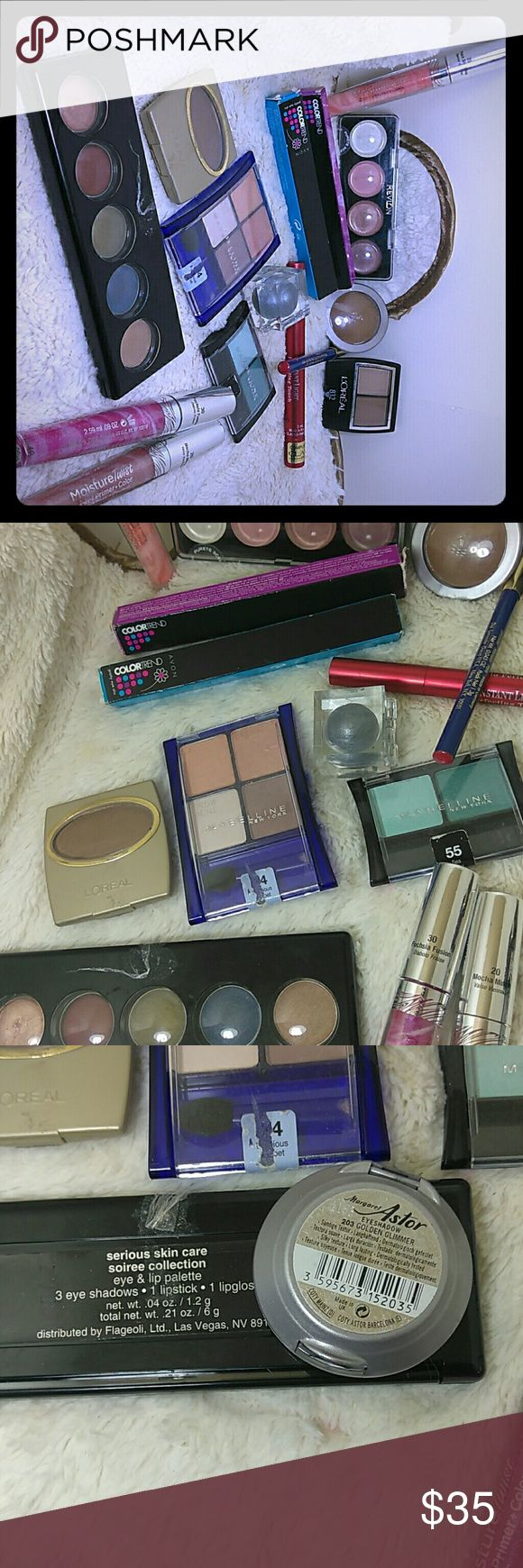 Makeuo sets All new loreal, Maybelline, avon, Revlon, Sally hansen, the last 2 pics were made in USA make up sets Makeup