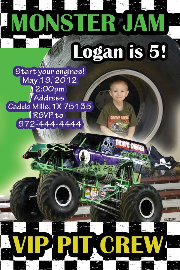 Monster Jam Party Invitations  http://www.facebook.com/CrystalsCreations4you