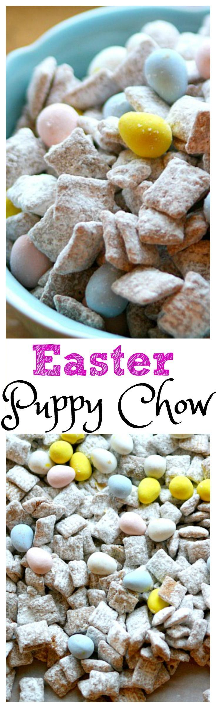 If you are looking for a quick way to add a little seasonal holiday fun to a sweet treat then this recipe might be a good fit. I used the traditional Chex recipe for Puppy Chow, but made a slight variation in order to add a little Easter-inspired goodness