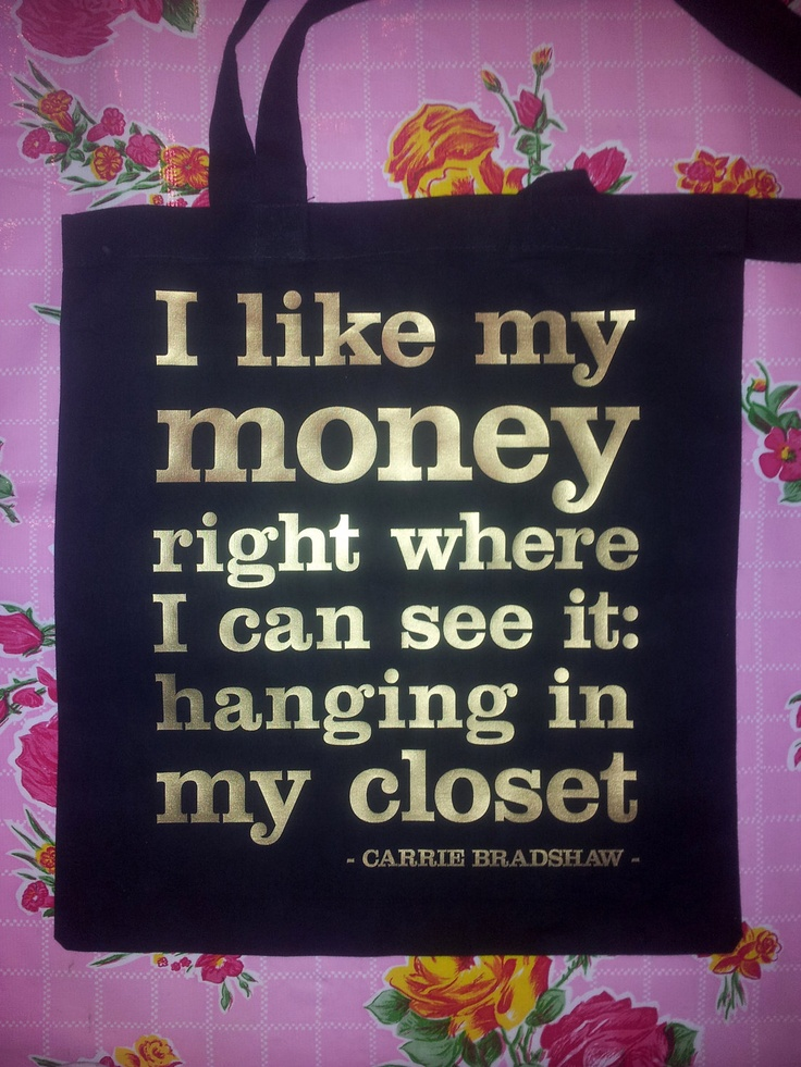 Bag with Carrie Bradshaw quote by mariekenhoefnagel on Etsy