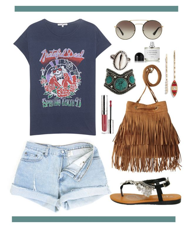 """""""Dead Head"""" by maliarose86 ❤ liked on Polyvore featuring Junk Food Clothing, H&M, Prada, By Terry, Cara, Byredo, jeanshorts, denimshorts and cutoffs"""
