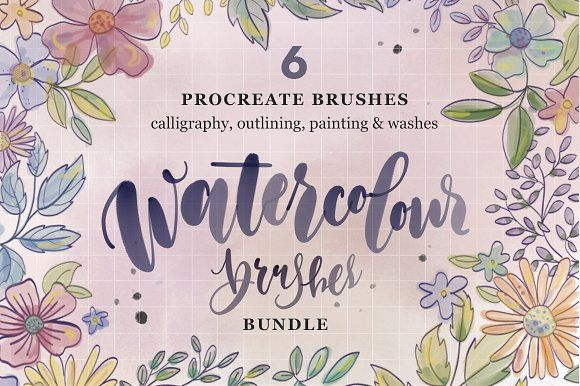 Watercolor Procreate 6 Brush Bundle by The Scratchy Nib on @creativemarket