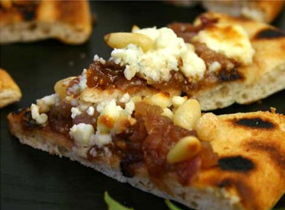 Fig, Gorgonzola and Pignoli Pizza with Carmelized Oni | @Omecaterer #njcatering #nycatering #caterersnj | Ome Caterers Catering NJ NY CT | Wedding Reception Ideas Decorations, Bat Mitzvahs, Charity Golf Outing, Fundraising, Corporate, Event Planner