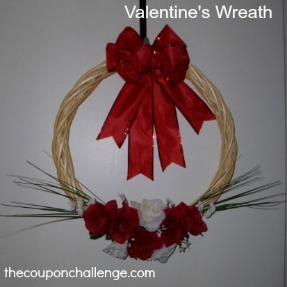 Homemade Valentines Wreath - Spend Under $10!: Valentine'S Day, Valentines Day Wreaths, Valentine'S S, Valentines Wreaths, Simple Wreaths, Homemade Valentines, Valentine Day Wreaths, Valentine Wreath