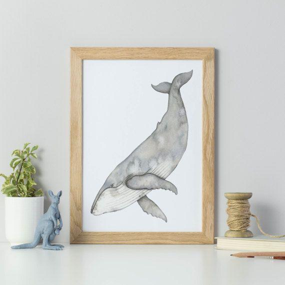 Bultrug aquarel schilderij - aquarel walvis print - walvis kunst