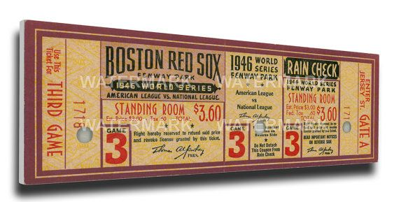 1946 World Series Game 3 Canvas Mega Ticket - Boston Red Sox