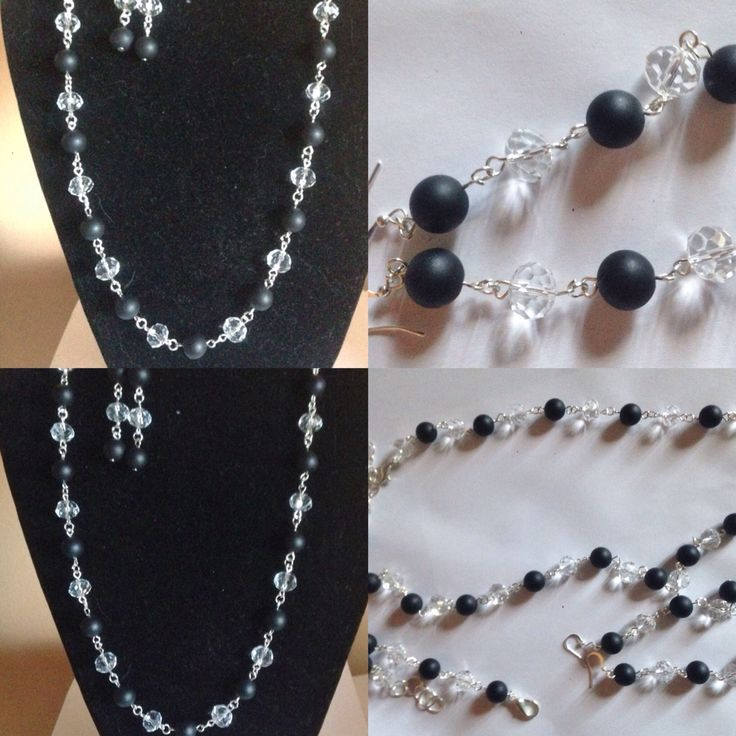 #parure con #collana , #orecchini in #filo di #metallo color #argento con #pietra #nera #opaca e #cristallo #trasparente. #fattoamano.  #necklace with #bracelet and #earrings in #metallic #wire with #black #stones and #transparent #crystals. #handmade.  #collar con #pulsera y #pendientes con #piedras #negras #mate y #cristales #transparentes. #hechoamanos.  www.oro18.eu info@oro18.eu