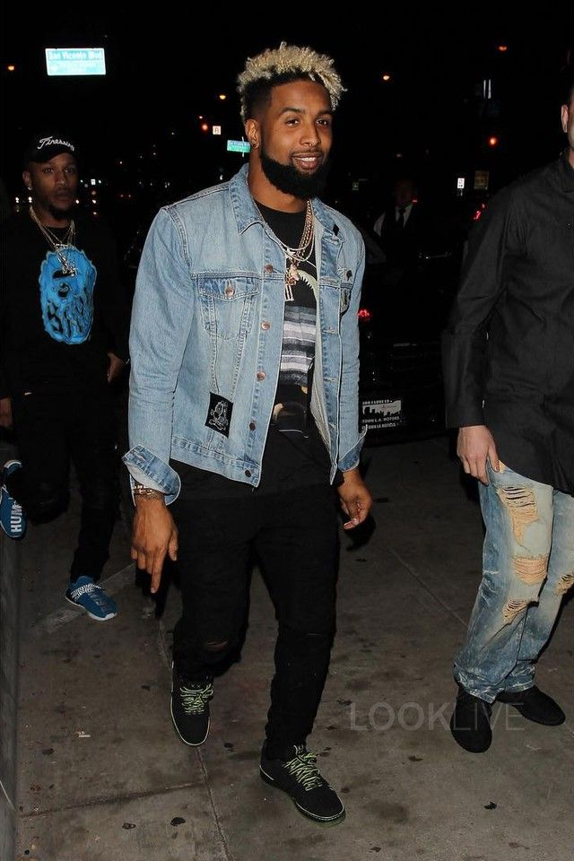 Odell Beckham Jr. wearing  BSTN Garfield Denim Jacket, Givenchy Old Print T-shirt