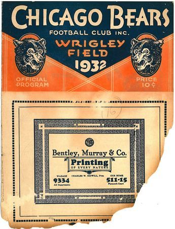 1932 Playoff Game Program - This is one of the few remaining copies of the game program from the NFL's first-ever playoff game. The program was salvaged from the remains of a fire that broke out at the Chicago #Bears offices in the 1960s. Via Pro Football Hall of Fame